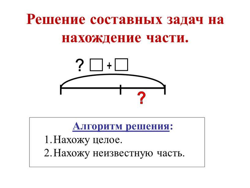 Решение составных задач на нахождение части