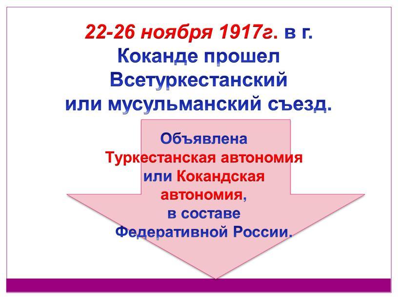 Коканде прошел Всетуркестанский или мусульманский съезд