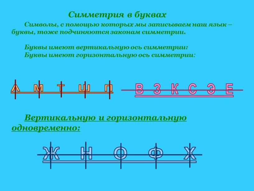 Символы, с помощью которых мы записываем наш язык – буквы, тоже подчиняются законам симметрии