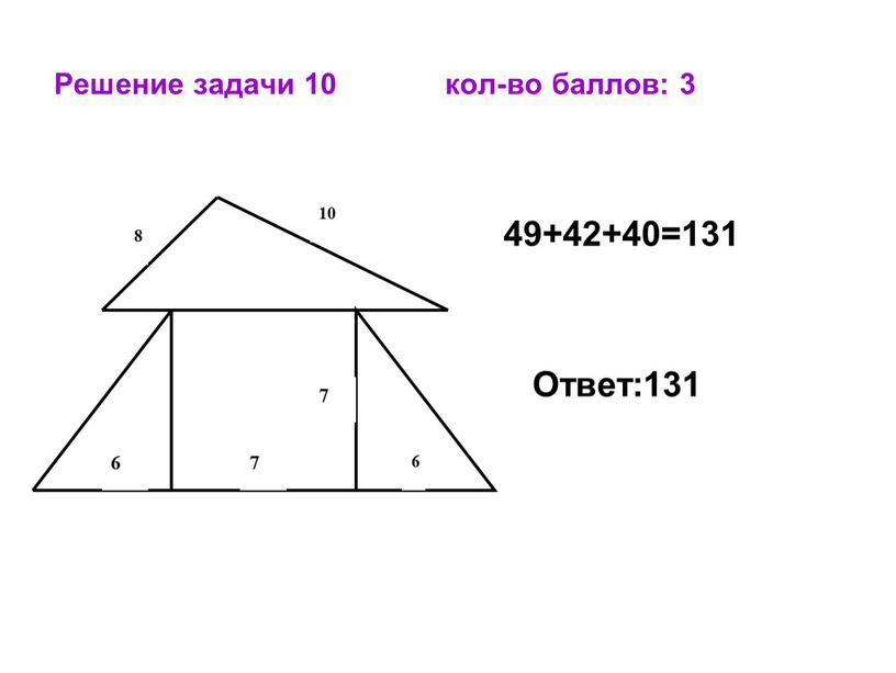 Решение задачи 10 кол-во баллов: 3 49+42+40=131