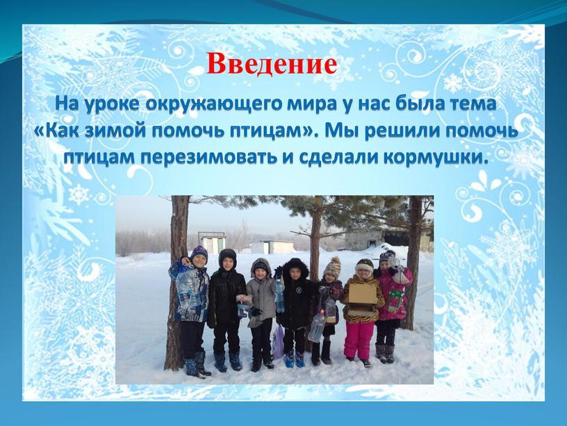 На уроке окружающего мира у нас была тема «Как зимой помочь птицам»