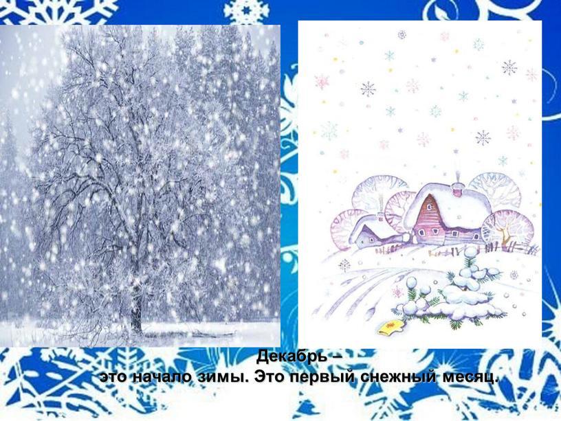 Декабрь – это начало зимы. Это первый снежный месяц