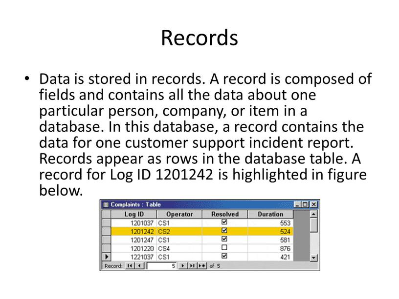 Records Data is stored in records