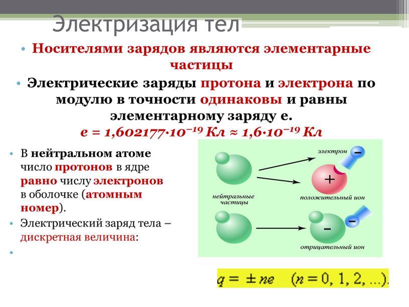 Электризация тел Носителями зарядов являются элементарные частицы
