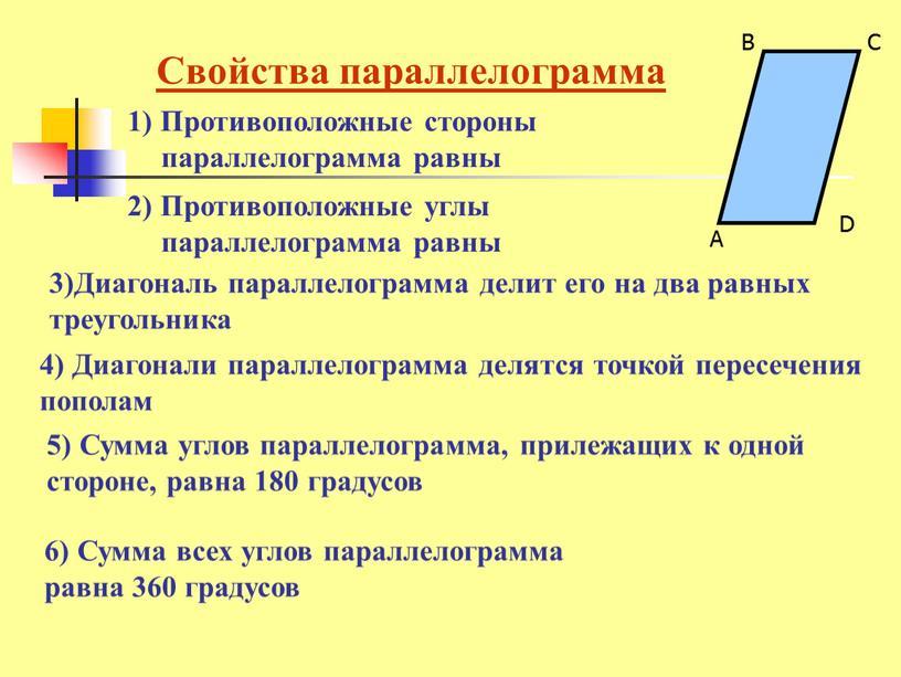 Свойства параллелограмма 3)Диагональ параллелограмма делит его на два равных треугольника 1)