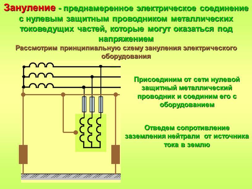 Зануление - преднамеренное электрическое соединение с нулевым защитным проводником металлических токоведущих частей, которые могут оказаться под напряжением