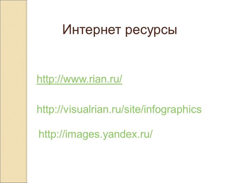 Интернет ресурсы http://www.rian