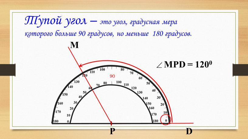 Тупой угол – это угол, градусная мера которого больше 90 градусов, но меньше 180 градусов
