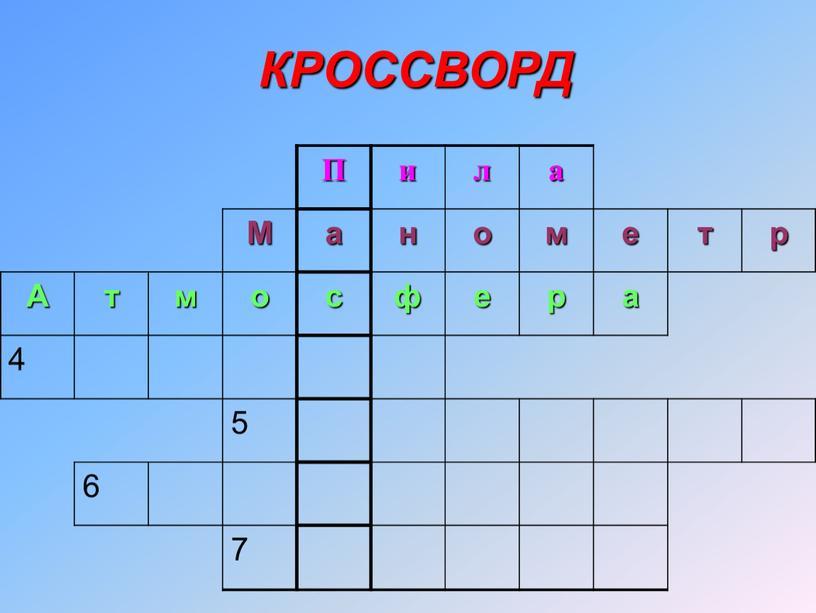 П и л а М а н о м е т р А т м о с ф е р а 4 5 6 7