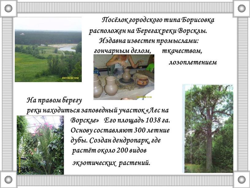 Посёлок городского типа Борисовка расположен на