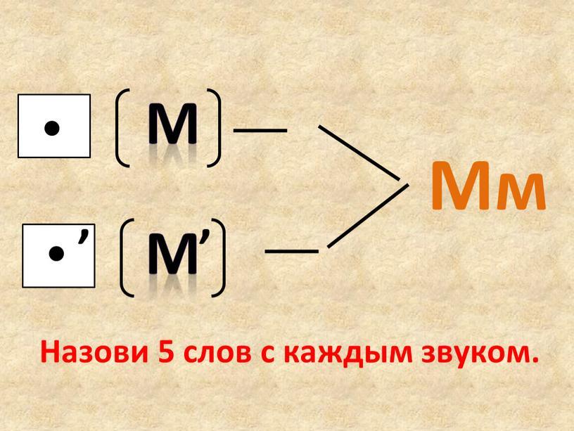 М М , Мм , Назови 5 слов с каждым звуком