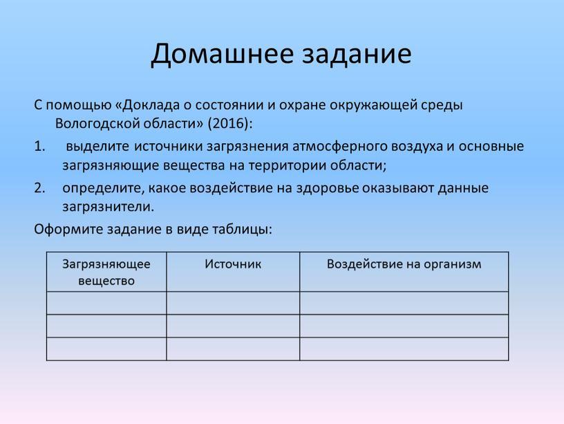 Домашнее задание С помощью «Доклада о состоянии и охране окружающей среды