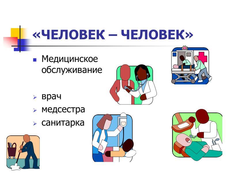 ЧЕЛОВЕК – ЧЕЛОВЕК» Медицинское обслуживание врач медсестра санитарка