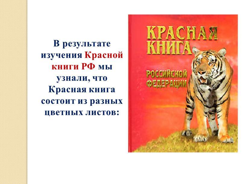 В результате изучения Красной книги