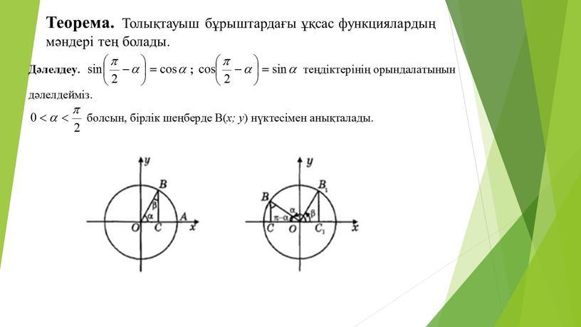 Теорема. Толықтауыш бұрыштардағы ұқсас функциялардың мәндері тең болады