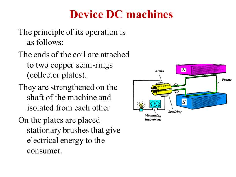 Device DC machines The principle of its operation is as follows: