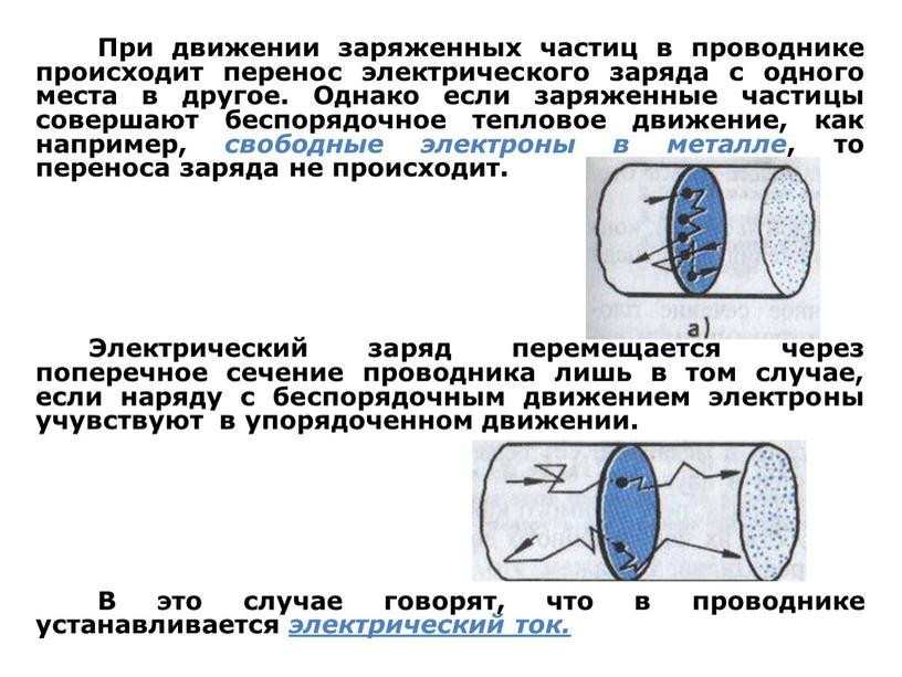 При движении заряженных частиц в проводнике происходит перенос электрического заряда с одного места в другое