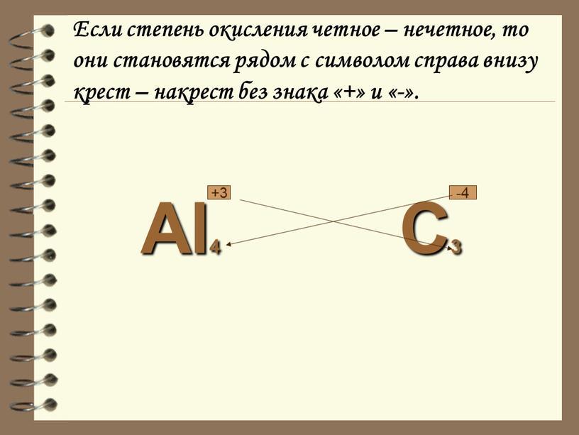 Если степень окисления четное – нечетное, то они становятся рядом с символом справа внизу крест – накрест без знака «+» и «-»