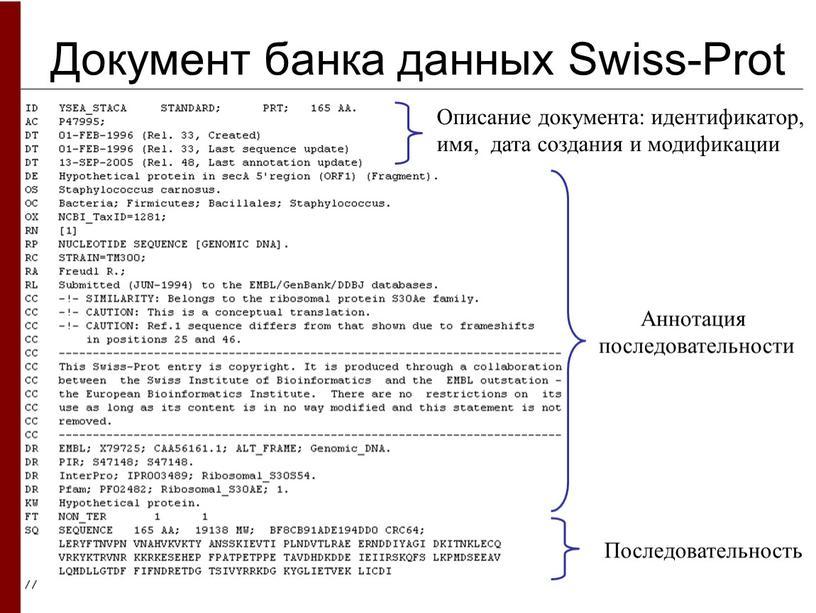 Документ банка данных Swiss-Prot