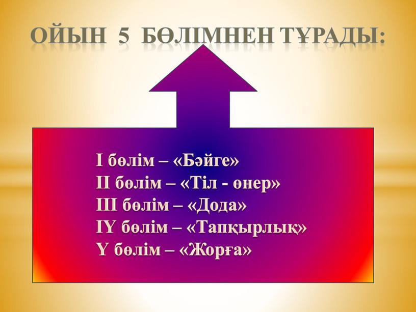 Ойын 5 бөлімнен тұрады: І бөлім – «Бәйге» ІІ бөлім – «Тіл - өнер» ІІІ бөлім – «Дода» ІҮ бөлім – «Тапқырлық» Ү бөлім –…