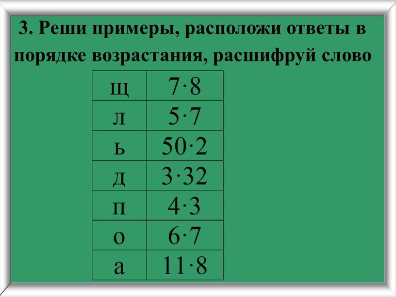 Реши примеры, расположи ответы в порядке возрастания, расшифруй слово