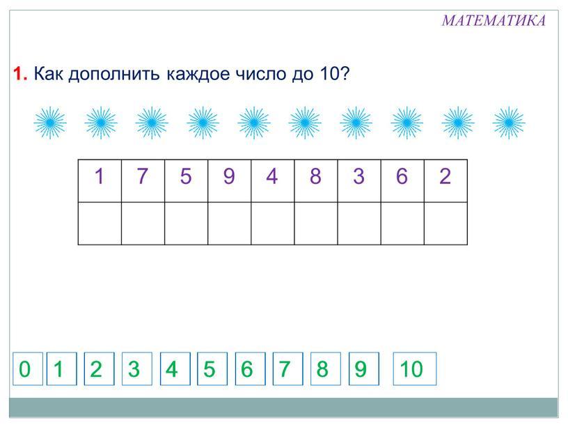 Как дополнить каждое число до 10? 5 7 1 2 3 4 6 8 9 5 7 1 2 3 4 6 8 9 10…