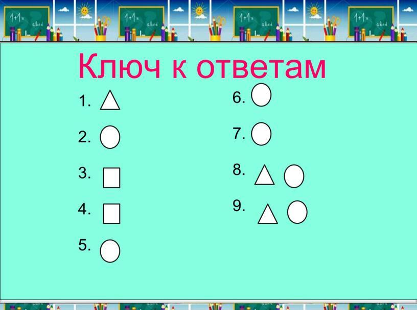 Ключ к ответам 1. 2. 3. 4. 5. 6
