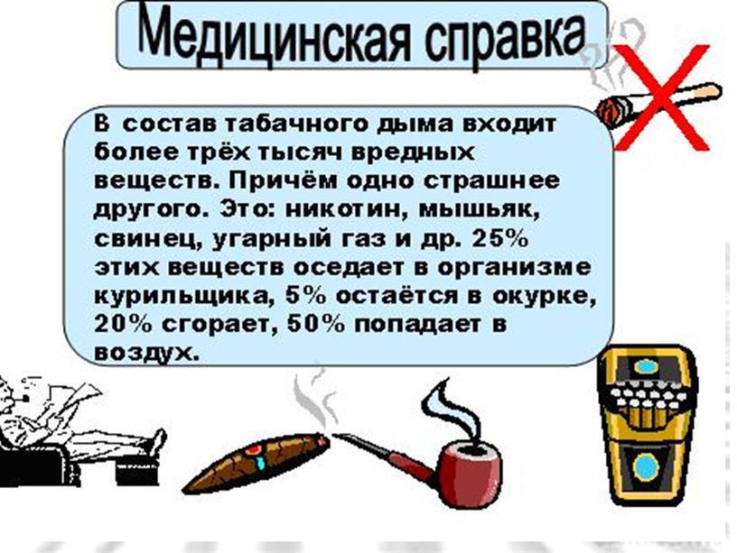 "Презентация к классному часу ""О вреде курения"""
