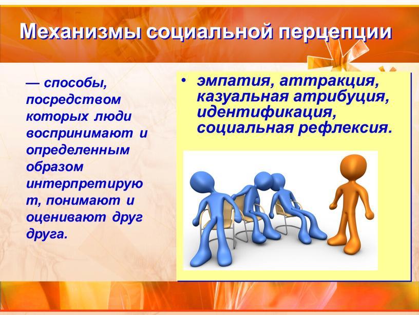 Механизмы социальной перцепции эмпатия, аттракция, казуальная атрибуция, идентификация, социальная рефлексия