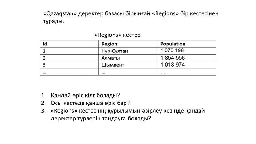 Qazaqstan» деректер базасы бірыңғай «Regions» бір кестесінен тұрады