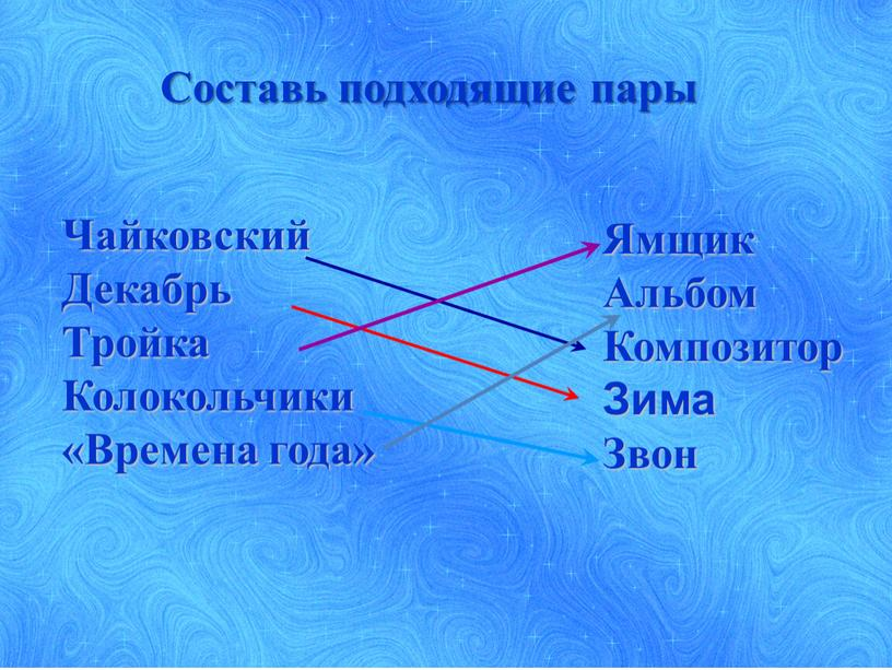 Составь подходящие пары Чайковский
