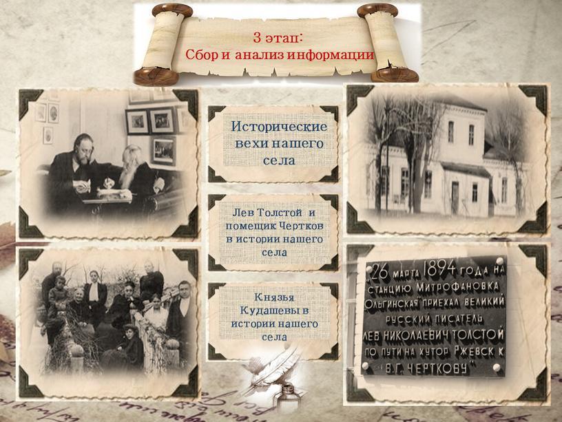 Сбор и анализ информации Исторические вехи нашего села