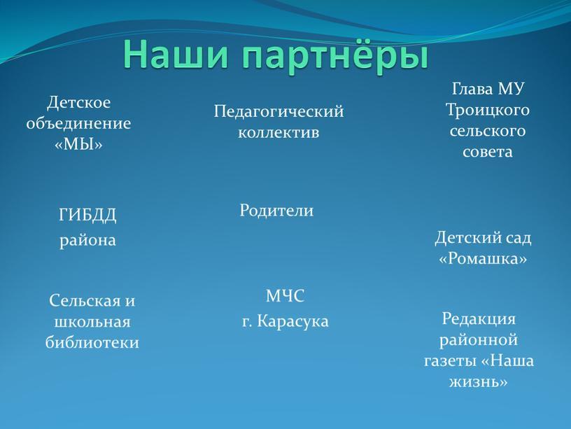 Наши партнёры Детское объединение «МЫ»
