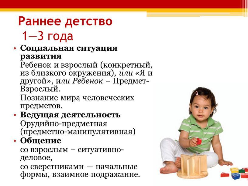 Раннее детство 1—3 года Социальная ситуация развития