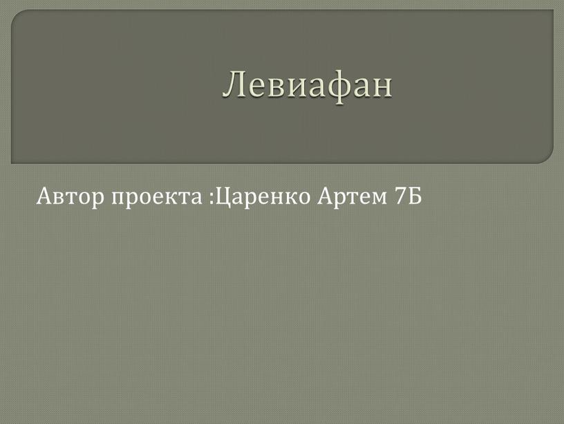 Левиафан Автор проекта :Царенко