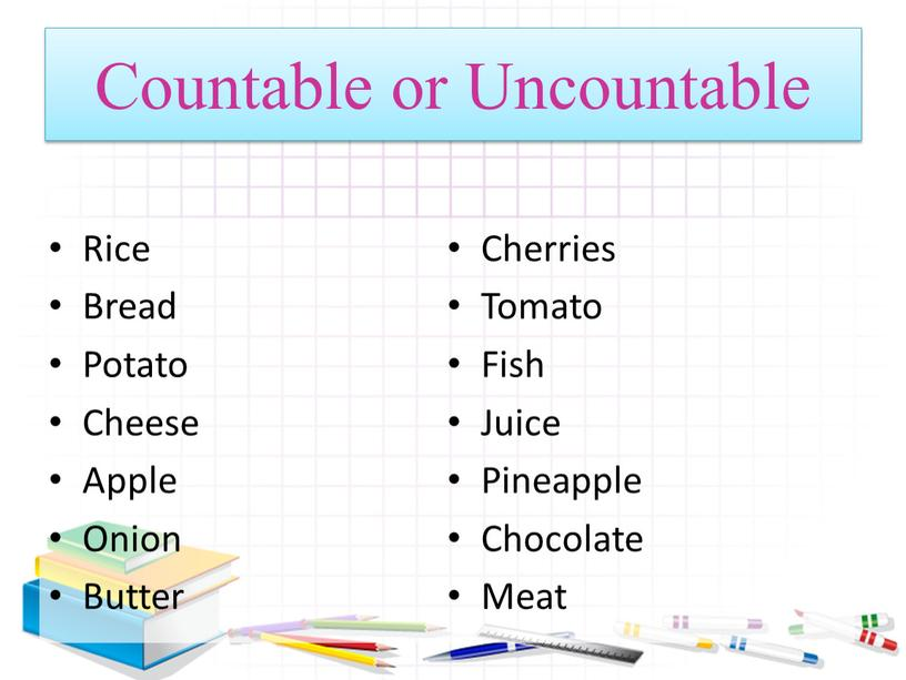 Countable or Uncountable Rice Bread