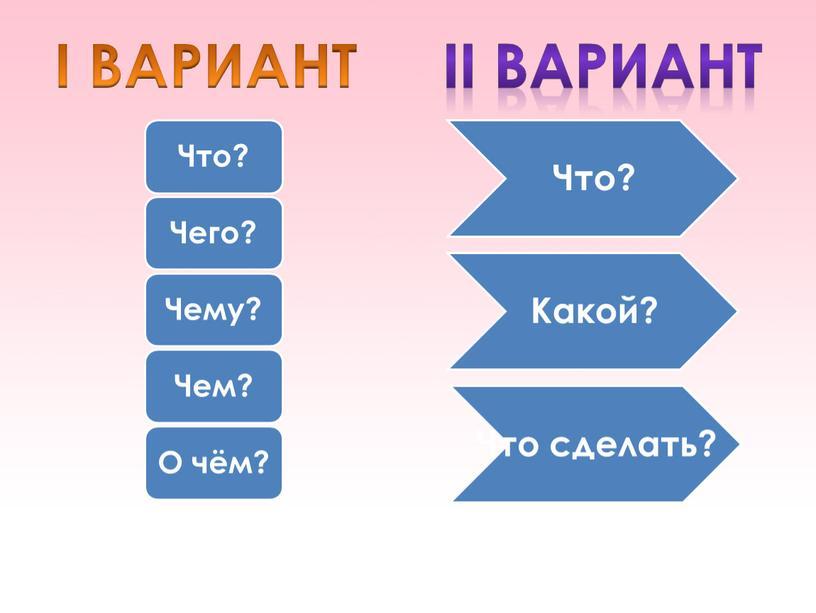 I ВАРИАНТ II Вариант