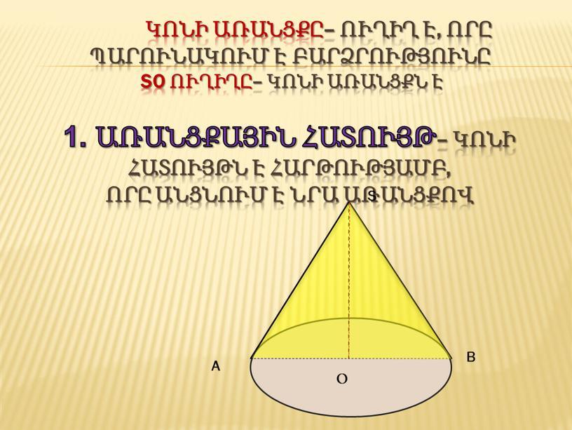SO ուղիղը– կոնի առանցքն է 1. առանցքային հատույթ– կոնի հատույթն է հարթությամբ, որը անցնում է նրա առանցքով Օ