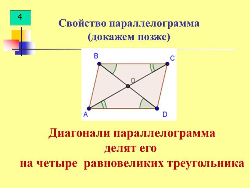 Свойство параллелограмма (докажем позже)