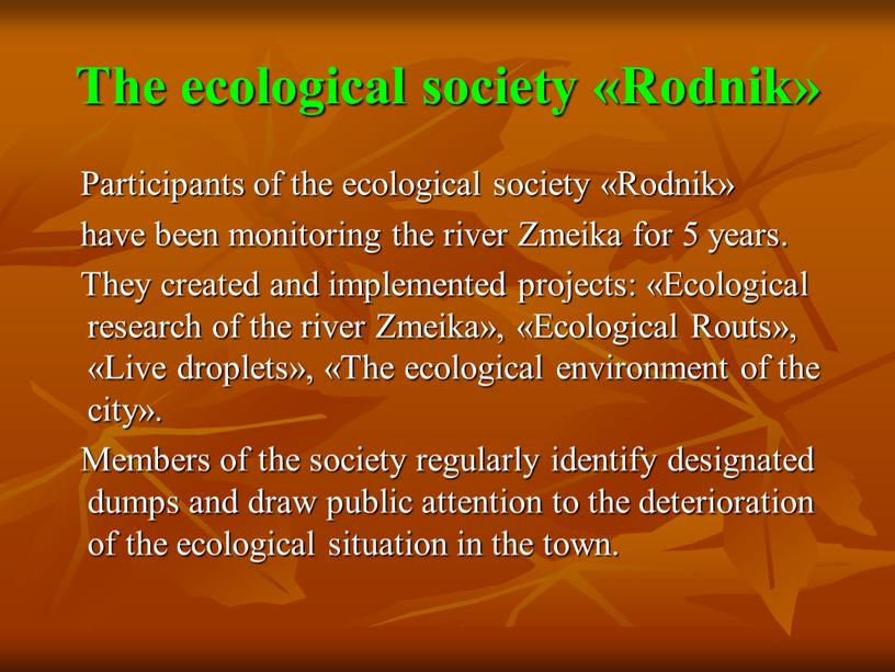 The ecological society «Rodnik»
