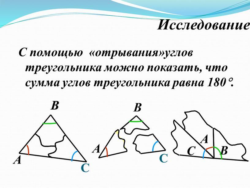 Исследование С помощью «отрывания»углов треугольника можно показать, что сумма углов треугольника равна 180