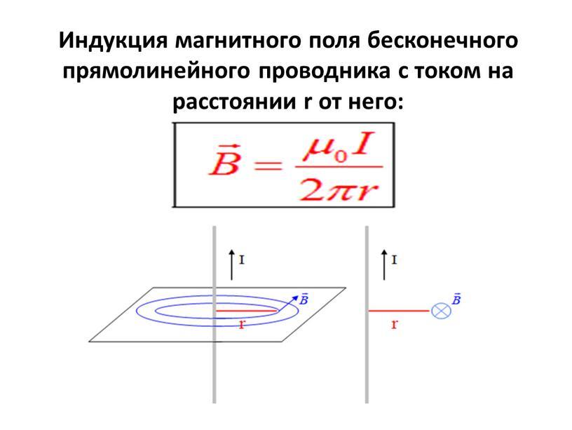 Индукция магнитного поля бесконечного прямолинейного проводника с током на расстоянии r от него: