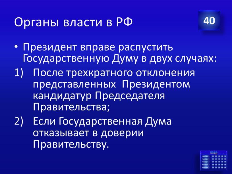Органы власти в РФ Президент вправе распустить