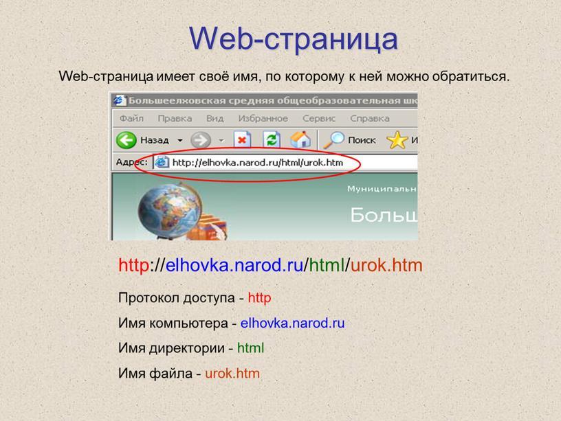 Web-страница http://elhovka.narod