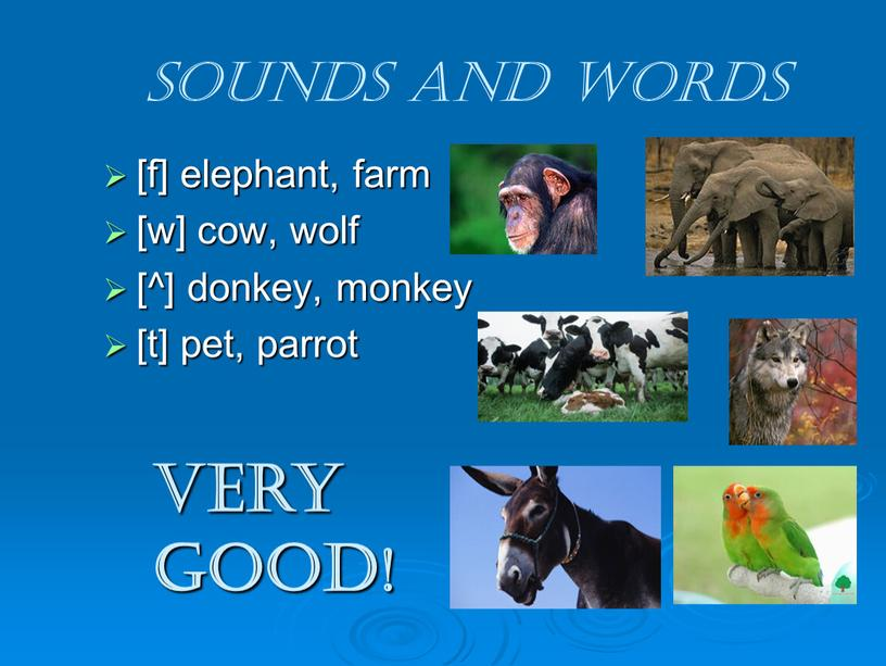 Sounds and words [f] elephant, farm [w] cow, wolf [^] donkey, monkey [t] pet, parrot