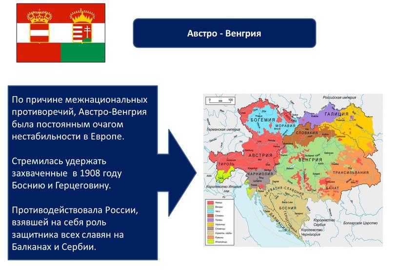 Австро - Венгрия По причине межнациональных противоречий,