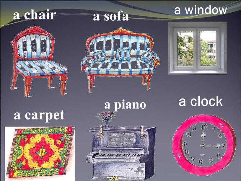 a chair a sofa a window a carpet a piano a clock