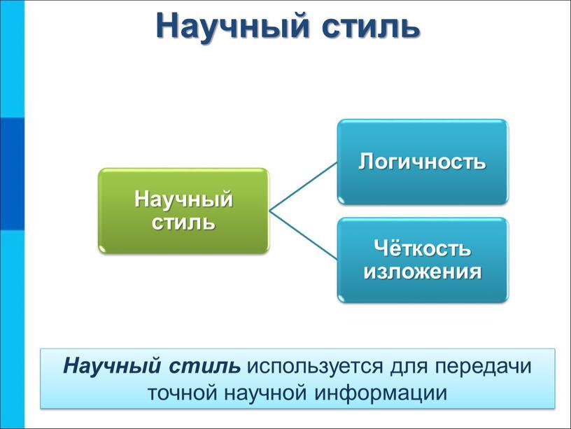 Научный стиль Научный стиль используется для передачи точной научной информации