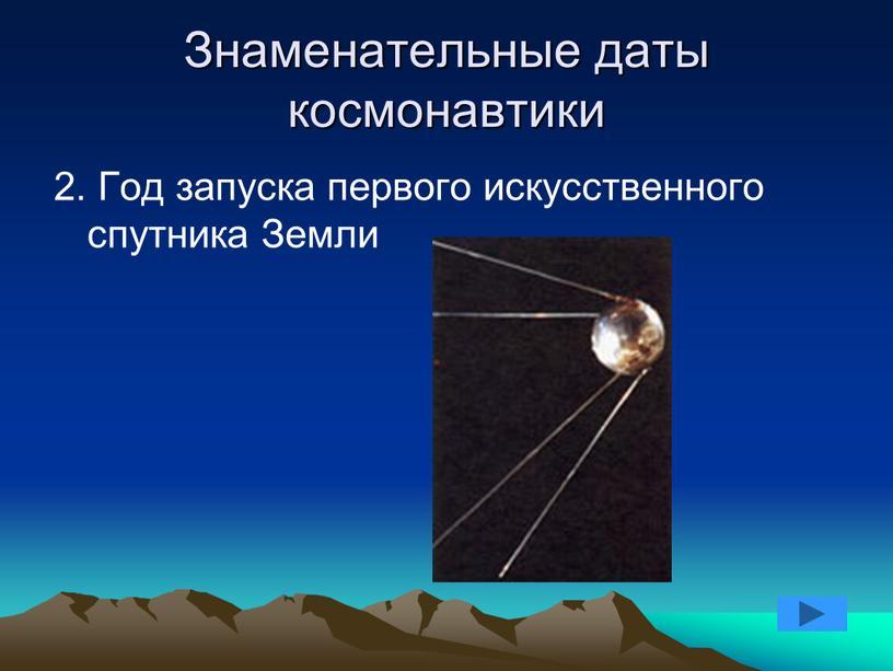 Знаменательные даты космонавтики 2