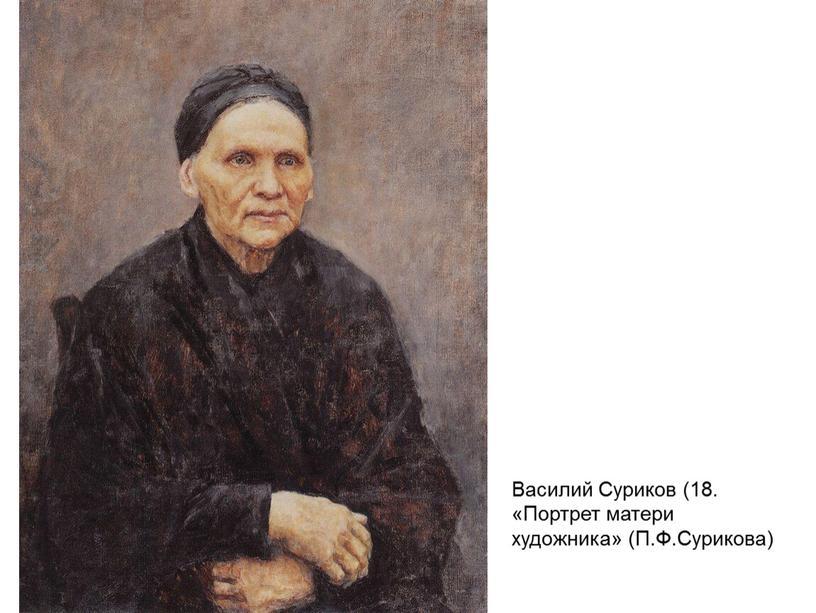 Василий Суриков (18. «Портрет матери художника» (П